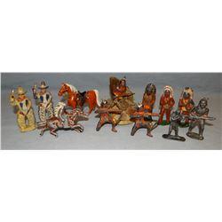 Metal cowboy and indian toys, 12 pcs