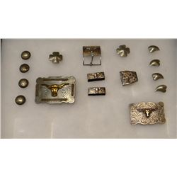Sterling silver belt buckles and conchos, assorted