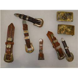 6 ranger belt buckles and 2 brass belt buckles