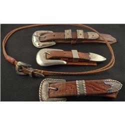 3 sterling silver ranger buckle sets and sterling silver hat band buckle, 1 set marked Crockett
