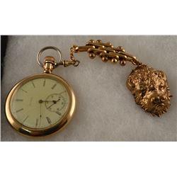Elgin pocket watch (working) with buffalo watch fob