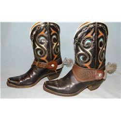 "Ladies' boots and set of spurs & men's studded belt, 37"", belt marked 101 Ranch"