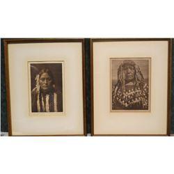"2 Edgar Curtis photo prints, Kutenai Female Type and Piegan Woman, both 6"" x 8"""