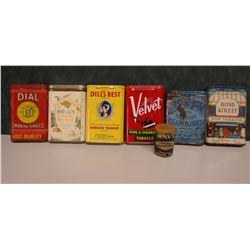 6 tobacco pocket tins, Dial, Rod & Gun, Dill's Best, Velvet, Bond Street, Edgeworth and Navy Scotch
