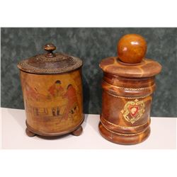 """2 vintage humidors, 8"""" h each"""
