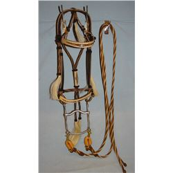 Deer Lodge Hitched horsehair headstall w/stainless A. Tietjen bit, newer headstall
