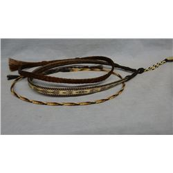 """Deer Lodge hitched horse hair quirt, 34"""" & 3 braided horsehair hat bands"""