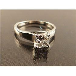 Ladies' diamond ring, princess cut, .50 ct. in 14 kt white gold, size 4 1/4