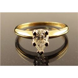 Ladies' diamond ring, pear cut, .80 ct, 14 kt yellow gold, size 8 1/4
