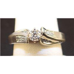 Ladies' diamond ring, round brilliant, .33 tcw, 14 kt white gold