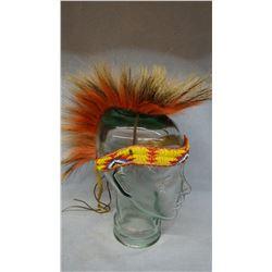 Sioux porcupine hair roach head dress, beaded