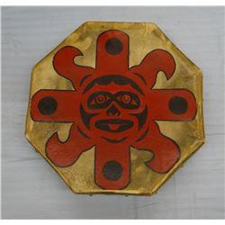 """Indian drum, rawhide, 15"""" w/ drum stick"""