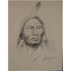 """Morgan, R. F. Bob, (1929 -2015) Indian portrait pencil drawing, 8"""" x 13"""", est. $300-400"""