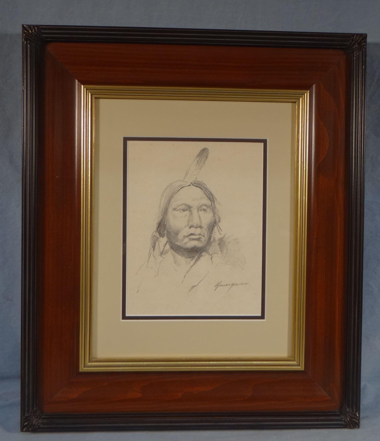 Image 2 morgan r f bob 1929 2015 indian portrait pencil