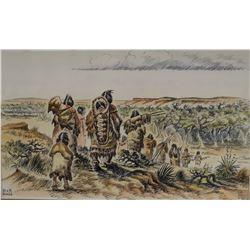 "Hall, Bob  - Butte artist deceased,original water color, pen and ink Moving Camp , 8"" x 13"",  est."