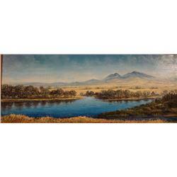 "Farrar, Burton  - Great Falls artist deceased, oil on canvas, On The Missouri River, 13"" x 32"",  est"