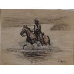 """Graham, David  - Miles City artist, est $200-300  Original charcoal drawing of a cowboy, 8"""" x 10"""""""