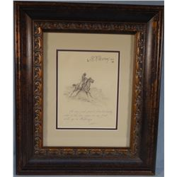 """Ralston , J.K. (1896 -1987) original illustration from the book (Rhymes of a Cowboy) 7"""" x 9"""", est. $"""