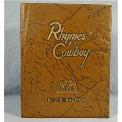 Ralston, J.K.  book, Rhymes of a Cowboy book, near fine