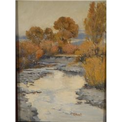"""Korell, Phil, oil on board,The Judith River, 12"""" x 16"""", est. $ 400-600"""