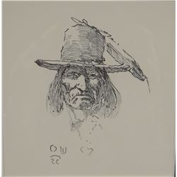 "Wieghorst, Olaf, original pen and ink, 7"" x 9"", est. $600-800"