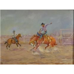 """Contway, Jay,  A Real Ranch Rodeo, 16""""x 12"""", orig. on board, framed"""