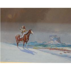 """Contway, Jay, Indian on Horse, 24""""x 18"""", orig. on canvas, framed"""