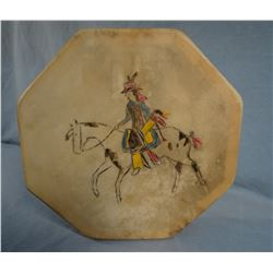 """Contway, Jay,  Indian Drum, 12"""" x 12"""", contemporary painting tanned goat hide"""