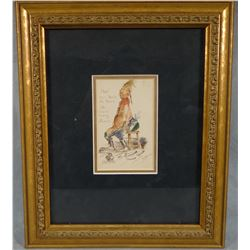 """Standing, William, original watercolor, Hopin You Feels At Home, 4"""" x 6"""", framed,"""