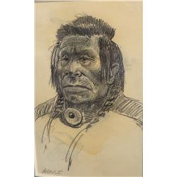 "Seltzer, Walter William (son of O. C. Seltzer) original pen sketch, 3 1/2"" x 5"", Indian Portrait, un"