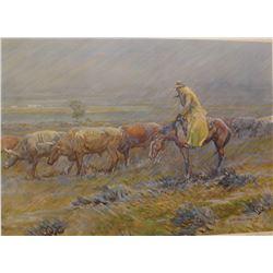 "J. K. Ralston signed print, 10"" x 14"", framed, The Yellow Slicker"