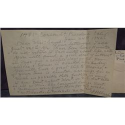 J. H. Sharp personal letter to Virginia Snook, 1946, signed by J. H. Sharp