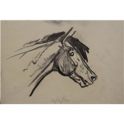 """James, Will original pencil sketch, Horse Head, signed """"To Virginia from Bill"""", 10/11/30, 7"""" x 9"""""""