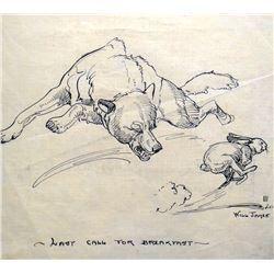 "James, Will original pen & ink, Last Call For Breakfast, signed Will James III, 1920, 8"" x 10"""