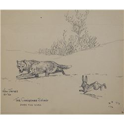 """James, Will original pen & ink, The Christmas Spirit, Coyote and Rabbit, signed and dated, 1926, 5"""""""