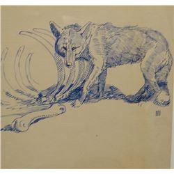 "James, Will original pen/ink, Wolf & Cow skeleton 5"" x 8"", signed ""III"""