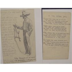 """James, Will, 2 poems, one with cowboy pencil sketch, 5"""" x 8"""" and 4"""" x 7"""",all unsigned"""