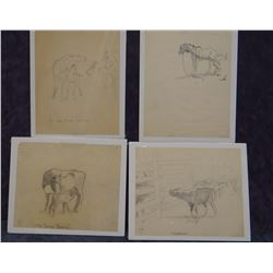 James, Will, 4 drawings, all unsigned, assorted sizes
