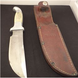 """Ruana 6"""" skinner knife with original sheathand w/Hear The Hammer, book by Rudy Ruana, signed by his"""