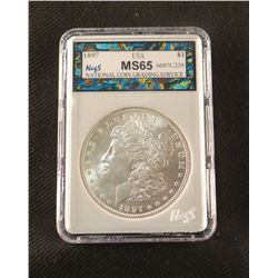 1897 P Morgan dollar, MS 65, NCGS