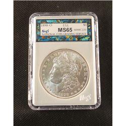 1898 O Morgan dollar, MS 65, NCGS