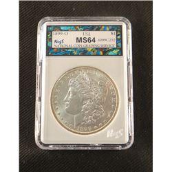 1899 O Morgan dollar, MS 64, NCGS