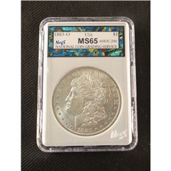 1883 O Morgan dollar, MS 65, NCGS