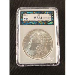 1884 P Morgan dollar, MS 64, NCGS