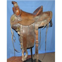 Pat Connolly saddle, Billings, MT, horseshoe carved, near mint