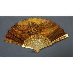 Ladies' fancy mother of pearl hand fan, gold trim w/case