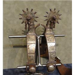 Beurmann silver mtd spurs, jingle bobs, 12 pt rowels