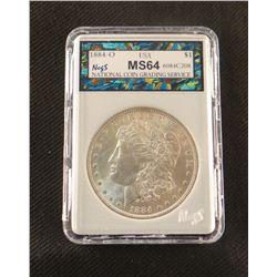 1884 O Morgan dollar, MS 64, NCGS