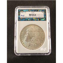 1885 O Morgan dollar, MS 64, NCGS