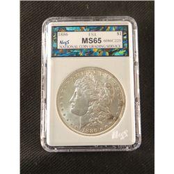 1886 P Morgan dollar, MS 65, NCGS